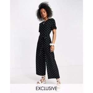 ASOS Wednesday's Girl Relaxed Belted Jumpsuit With Wide Leg